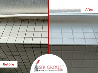 Before and After Picture of a Bathroom Grout Cleaning Service in Chicago