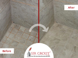 Before and After Picture of our Grout Recoloring Service in Glencoe