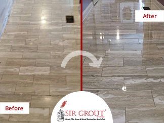 Before and After Picture of our Marble Honing and Polishing Service Performed in Park Ridge, IL
