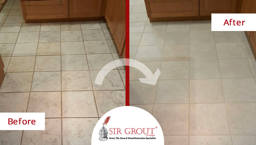 Before And After Picture Of A Grout Cleaning Project For Property Managers  In Chicago  Apartment Cleaning Chicago