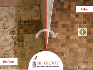 Before and After Picture of a Stone honing Service on a Limestone Shower Floor Damaged by Vinegar