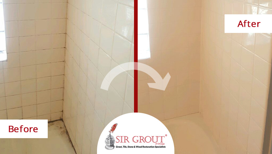 Before and After Picture of a Grout Cleaning on a Tile in Lakeview, Illinois