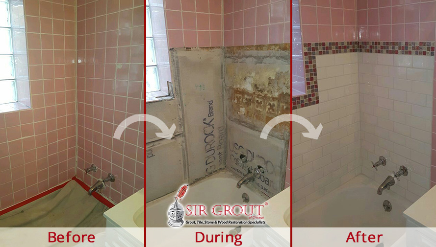 Extreme Makeover On This Girls Bathroom In Lincoln Park IL After A - Bathroom caulking service
