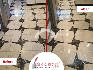 Before and After Picture of a MArble Stone Polishing Service in Chicago, IL