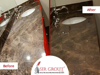 Before and After Picture of a Marble Stone Polishing Service in Chicago
