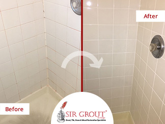 Before and After Picture of a Bathroom's Dirty Grout in Chicago, IL