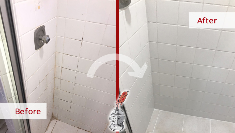 Before and After Picture of a Bathroom Tile and Grout Cleaners in Lakeview, IL