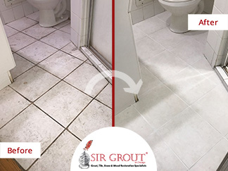Before and After Picture of a Tile and Grout Cleaners in Lakeview, IL
