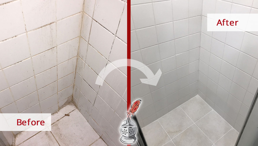 Before and After Picture of a Shower Tile and Grout Cleaners in Lakeview, IL
