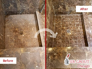 A Stone Cleaning in Lakeview, Illinois Renewed the Appeaance of This Shower