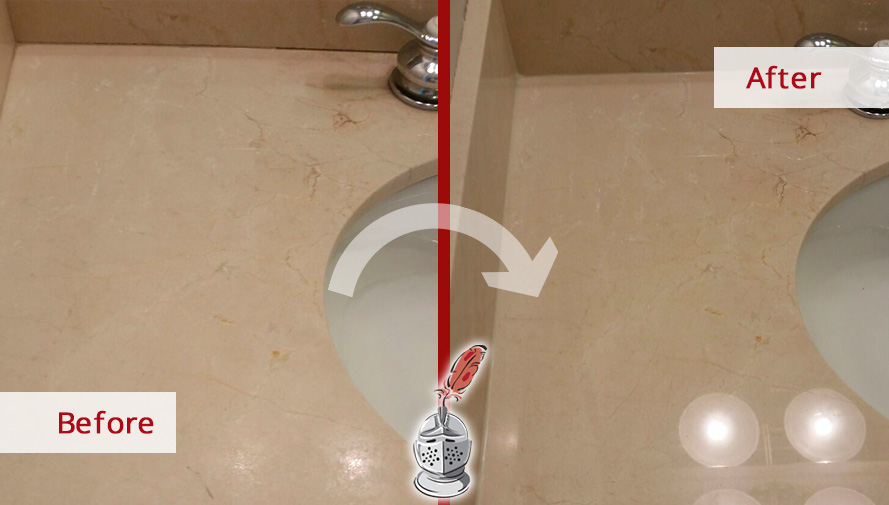 Before and after Picture of This High-Quality Job to Restore the Shine on This Marble Surfaces in Chicago, IL