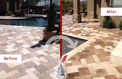 Before and After Picture of a Worn-Out Travertine Pool Deck Honed and Polished