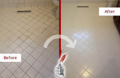 Before and After Picture of Bathroom with Dirty Grout Recolored and Sealed to Remove Staining