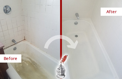 Before and After Picture of a Golden Coast Bathtub Caulked to Repair Cracks