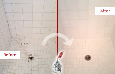 Before and After Picture of a Golden Coast Bathroom Re-Caulked To Repair Damaged Caulking