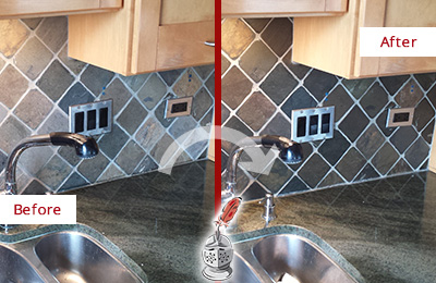 Before and After Picture of a Golden Coast Backsplash Caulked to Fix and Prevent Water Leaks
