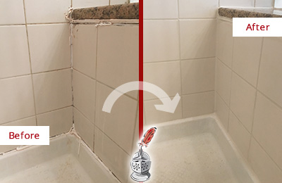 Before and After Picture of a Golden Coast Shower Caulked to Repair Damaged Caulking