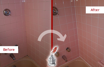 Before and After Picture of a Golden Coast Bathtub Caulked to Eliminate Mold