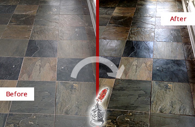 Before and After Picture of a Dull Indian Creek Slate Floor Sealed to Bring Back Its Colors