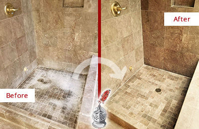 Before and After Picture of a Niles Travertine Shower Cleaned to Eliminate Water Spots