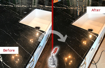 Before and After Picture of a Green Oaks Marble Kitchen Countertop Stone Sealed to Avoid Water Damage