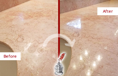 Before and After Picture of a Green Oaks Marble Stone Vanity Top Sealed to Avoid Water Marks