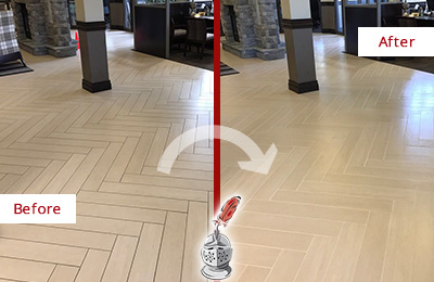 Before and After Picture of a Crete Hard Surface Restoration Service on an Office Lobby Tile Floor to Remove Embedded Dirt