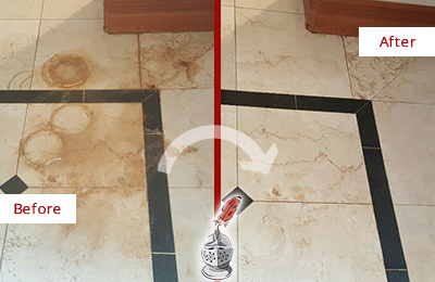 Before and After Picture of a Crete Hard Surface Restoration Service on a Marble Floor to Eliminate Rust Stains