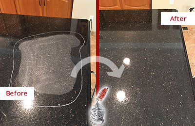 Before and After Picture of a Crete Hard Surface Restoration Service on a Granite Countertop to Remove Scratches