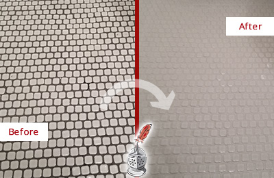 Before and After Picture of a Crete Hard Surface Restoration Service on a Bathroom Tile Floor Recolored to Fix Grout Color