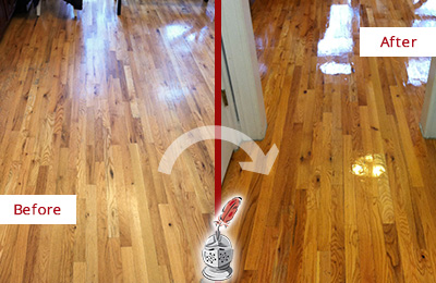 Before and After Picture of a Crete Hard Surface Restoration Service on a Worn Out Wood Floor
