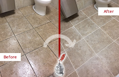 Before and After Picture of a Aurora Office Restroom Floor Recolored Grout