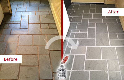 Before and After Picture of Damaged Green Oaks Slate Floor with Sealed Grout
