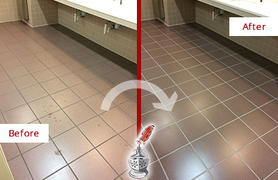 Before and After Picture of Dirty Barlett Office Restroom with Sealed Grout