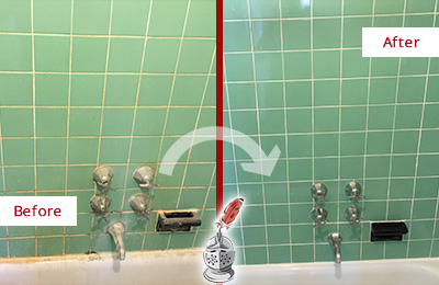 Before and After Picture of a Green Oaks Bath Tub Grout Sealed to Avoid Water Damage