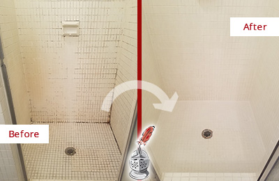 Before and After Picture of a Green Oaks Bathroom Grout Sealed to Remove Mold