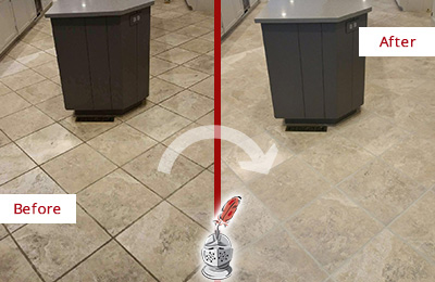 Before and After Picture of a Barlett Kitchen Floor Grout Sealed to Remove Stains