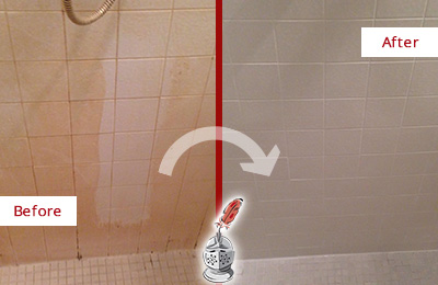 Before and After Picture of a Bellwood Porcelaine Shower Cleaned to Remove Soap Scum