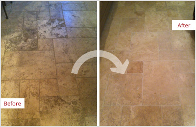 Sir Grout Chicago Tan Marble Clean and ClearSeal