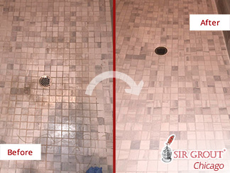 Before and after Picture of This Shower after a Grout Cleaning Job in Chicago