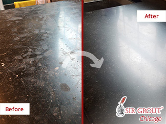 Before and after Picture of This Kitchen Countertop in Chicago,  Restored after a Stone Honing Job