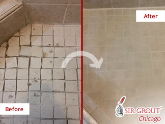 Before and after Picture of A Grout Sealing Job in Chicago, IL That Renewed This Shower