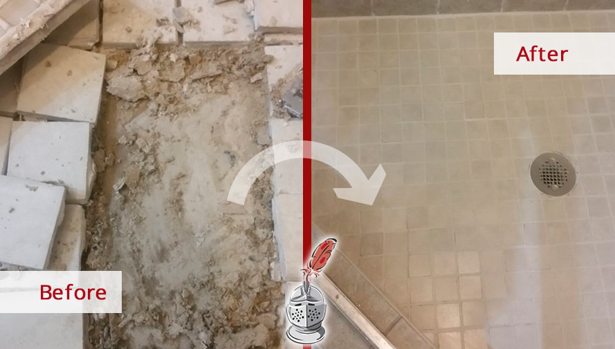 Before and after Picture of This Shower Renewed after a Grout Sealing Job in Chicago, IL