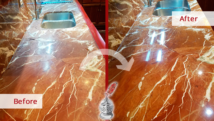 Before and after Picture of This Marble Kitchen Countertop Shining after a Stone Polishing Job Done in Chicago