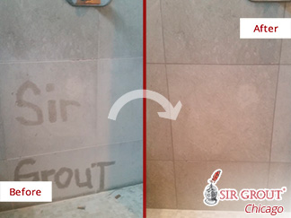 Before and after Picture of This Shower after a Tile and Grout Cleaning Service in Lincoln Park