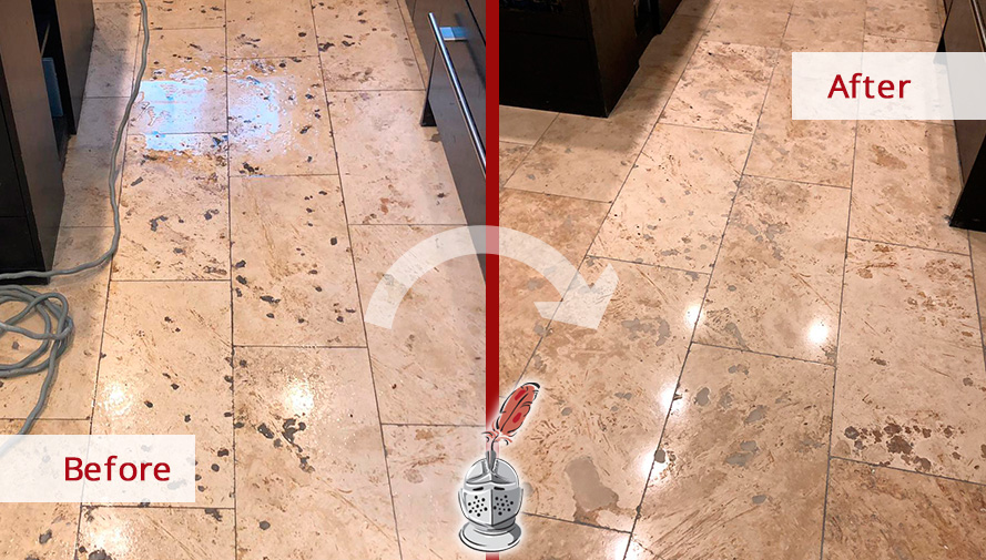 Before and after Picture of This Travertine Floor Restored after a Stone Polishing Service in Lincoln Park