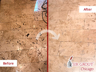 Before and after Picture of This Stone Polishing Job Done in Lincoln Park