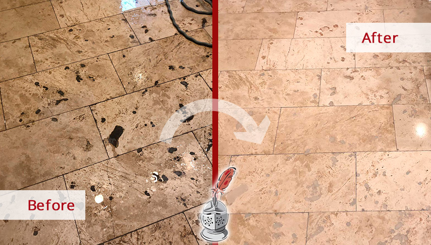Before and after Picture of This Travertine Floor Restored after a Stone Polishing Job Done in Lincoln Park