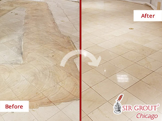 Before and after Picture of a Stone Honing Job in Chicago, IL