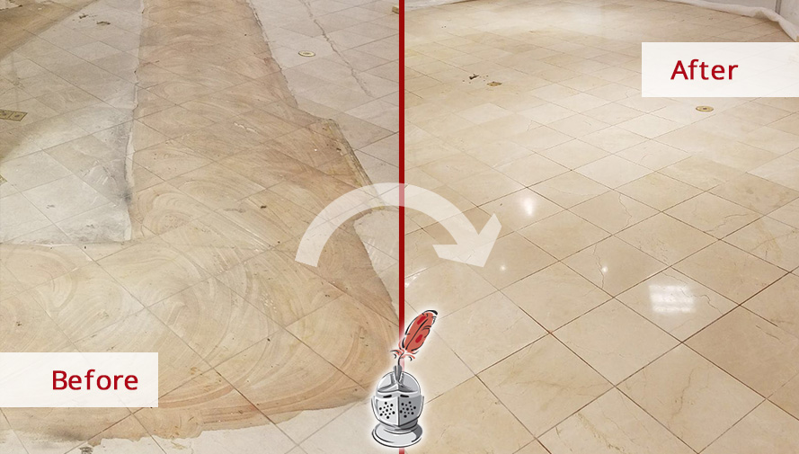 Before and after Picture of Macy's Floor after a Stone Honing Job in Chicago, IL